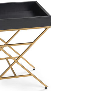 Moira Metal/Wood Accent Table in Matte Black and Gold