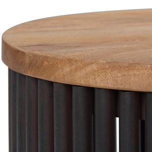 Demy Metal/Wood Accent Table in Natural and Black