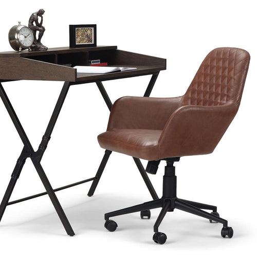 Distressed Cognac Faux Leather | Goodwin Swivel Office Chair