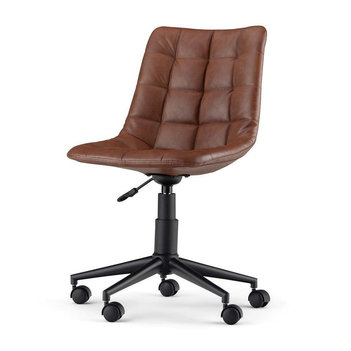 Distressed Cognac Faux Leather | Chambers Swivel Office Chair
