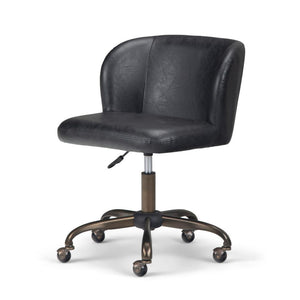 Distressed Black Faux Leather | Sheehan Swivel Office Chair
