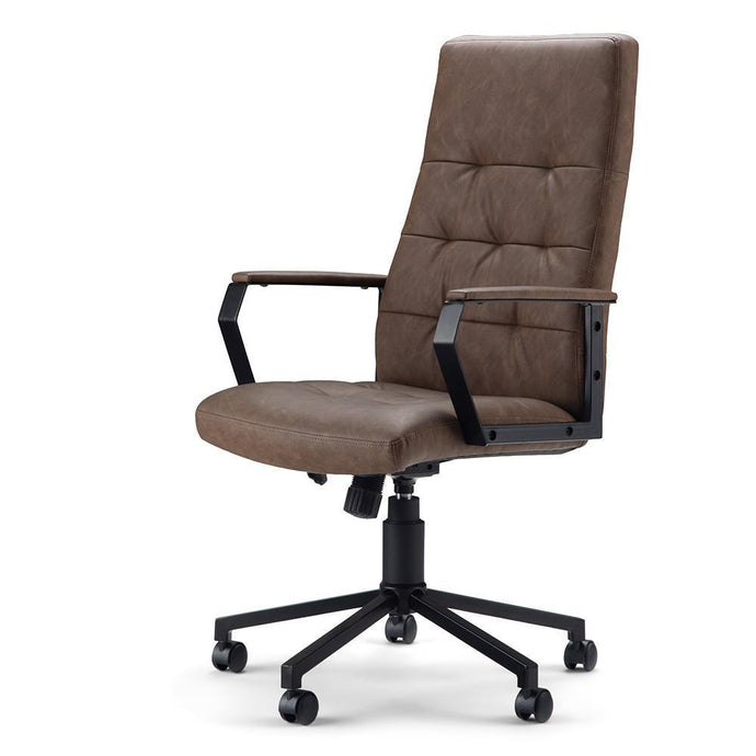Distressed Brown Faux Leather | Foley Swivel Office Chair