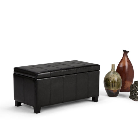 Midnight Black PU Faux Leather | Dover Faux Leather Storage Ottoman