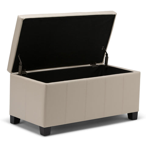 Satin Cream PU Faux Leather | Dover Faux Leather Storage Ottoman