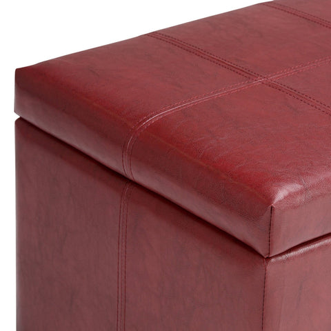 Radicchio Red PU Faux Leather | Dover Faux Leather Storage Ottoman