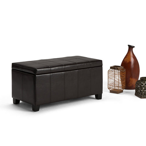 Tanners Brown PU Faux Leather | Dover Faux Leather Storage Ottoman