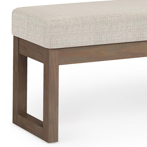 Large Platinum | Milltown 44 inch Large Ottoman Bench in Linen Look Fabric