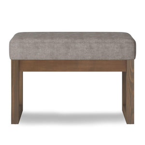 Distressed Grey Taupe Faux Air Leather| Milltown Footstool Small Ottoman Bench