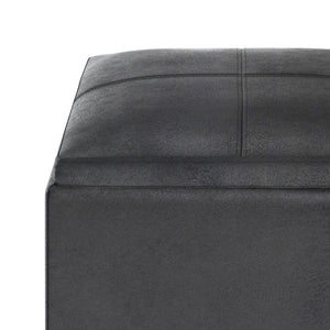 Distressed Black | Rockwood Faux Leather Cube Storage Ottoman with Tray