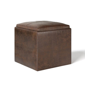 Distressed Chestnut Brown | Rockwood Faux Leather Cube Storage Ottoman with Tray