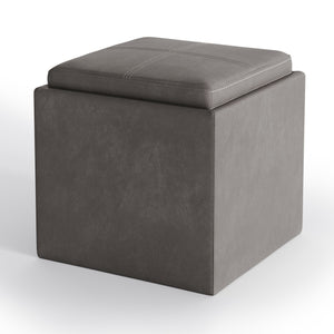 Distressed Slate Grey | Rockwood Faux Leather Cube Storage Ottoman with Tray