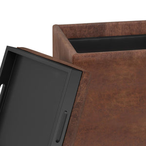 Distressed Saddle Brown | Rockwood Faux Leather Cube Storage Ottoman with Tray