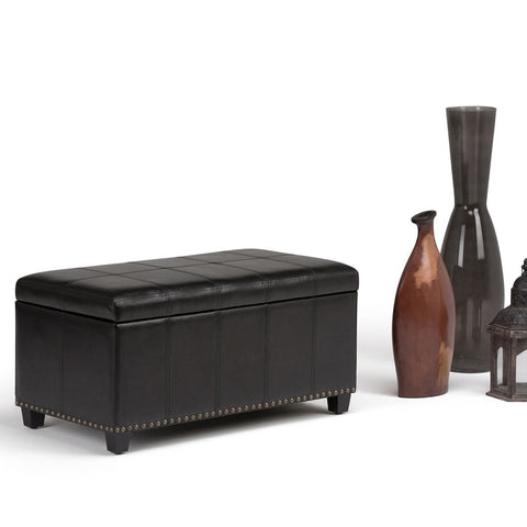 Midnight Black PU Faux Leather | Amelia Storage Ottoman Bench