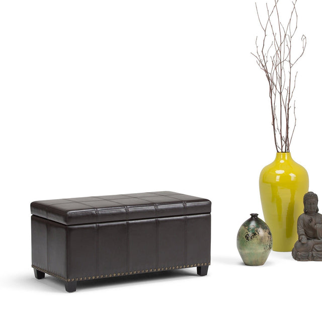 Load image into Gallery viewer, Tanners Brown PU Faux Leather | Amelia Storage Ottoman Bench