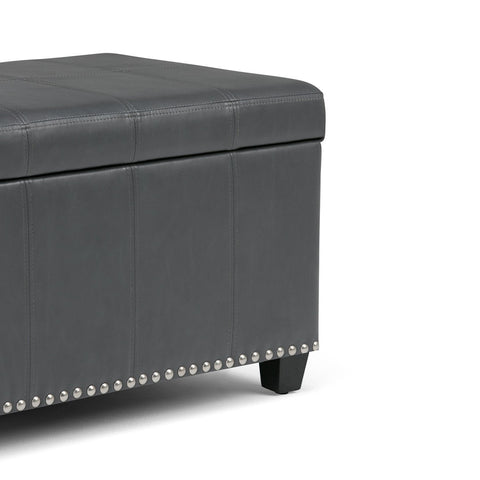 Stone Grey PU Faux Leather | Amelia Storage Ottoman Bench