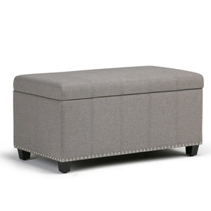 Dove Grey Linen Look Polyester | Amelia Storage Ottoman Bench