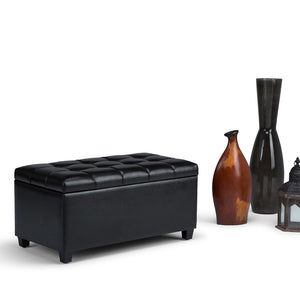 Midnight Black PU Faux Leather | Sienna Storage Ottoman Bench