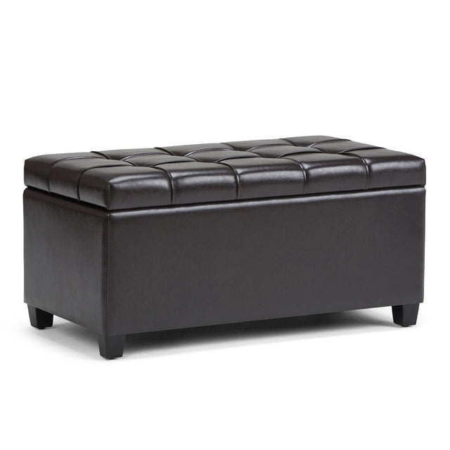 Load image into Gallery viewer, Tanners Brown PU Faux Leather | Sienna Storage Ottoman Bench