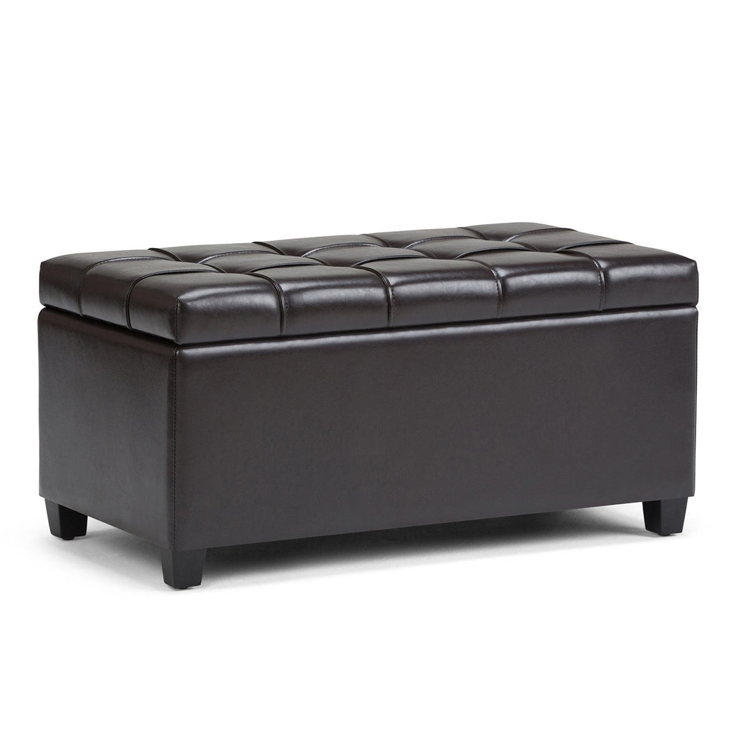 Tanners Brown PU Faux Leather | Sienna Storage Ottoman Bench