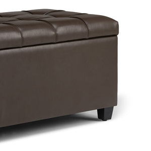 Chocolate Brown PU Faux Leather | Sienna Storage Ottoman Bench