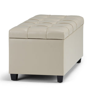 Satin Cream PU Faux Leather | Sienna Storage Ottoman Bench
