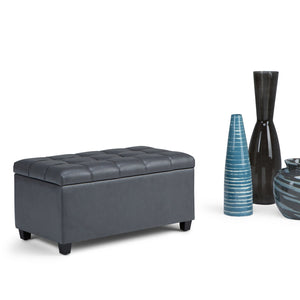 Stone Grey PU Faux Leather | Sienna Storage Ottoman Bench