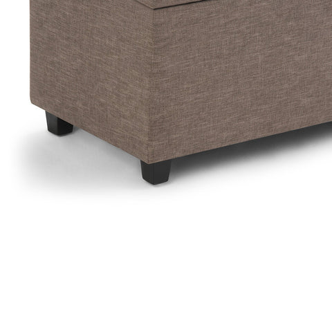 Fawn Brown Linen Look Polyester | Darcy Storage Ottoman Bench