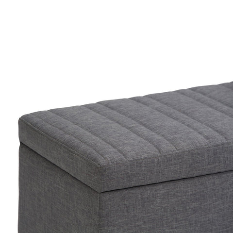 Slate Grey Linen Look Polyester | Darcy Storage Ottoman Bench