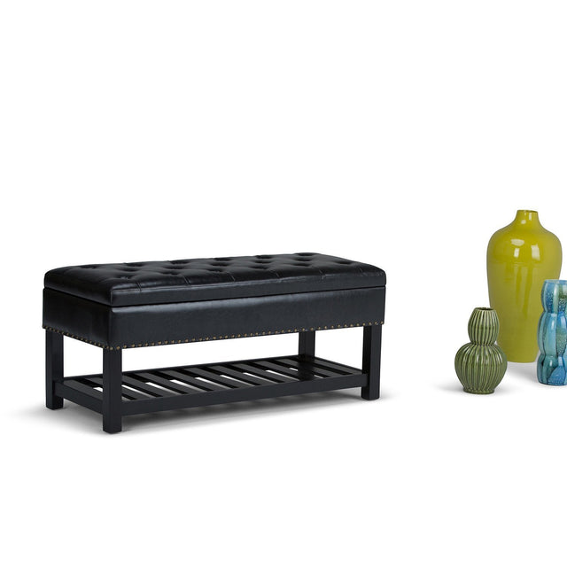 Load image into Gallery viewer, Midnight Black Faux Leather | Lomond Storage Ottoman Bench