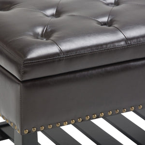 Tanners Brown Faux Leather | Lomond Storage Ottoman Bench