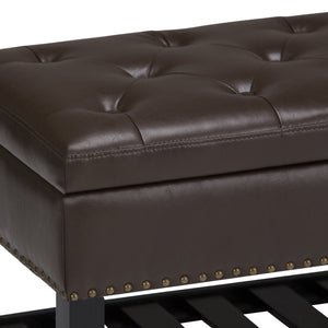 Chocolate Brown PU Faux Leather | Lomond Storage Ottoman Bench