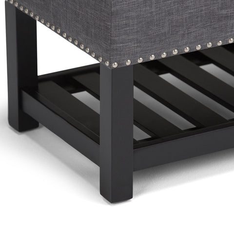 Slate Grey Linen Look Polyester | Lomond Storage Ottoman Bench