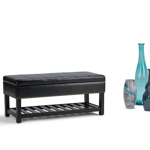 Midnight Black PU Faux Leather | Radley Storage Ottoman Bench