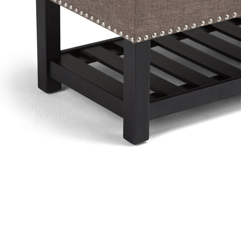 Fawn Brown Linen Look Polyester | Radley Storage Ottoman Bench