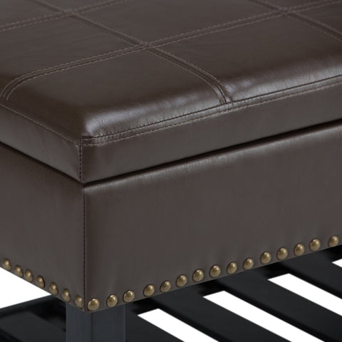 Chocolate Brown PU Faux Leather | Radley Storage Ottoman Bench
