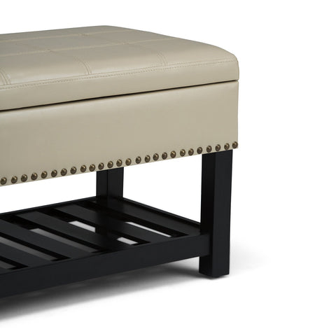 Satin Cream PU Faux Leather | Radley Storage Ottoman Bench