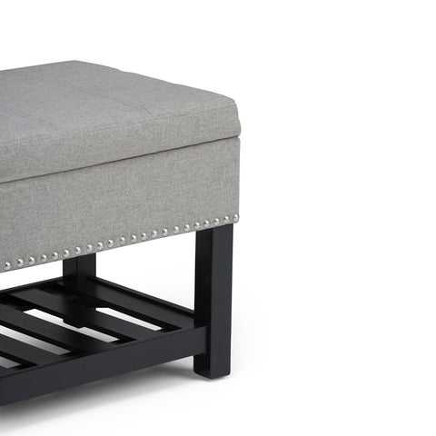 Dove Grey Linen Look Polyester | Radley Storage Ottoman Bench