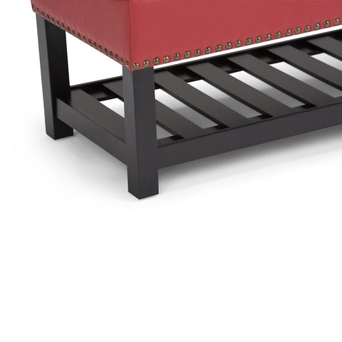 Crimson Red PU Faux Leather | Radley Storage Ottoman Bench