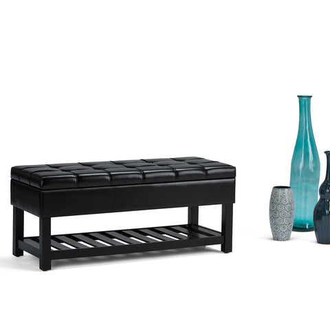 Midnight Black PU Faux Leather | Saxon Storage Ottoman Bench