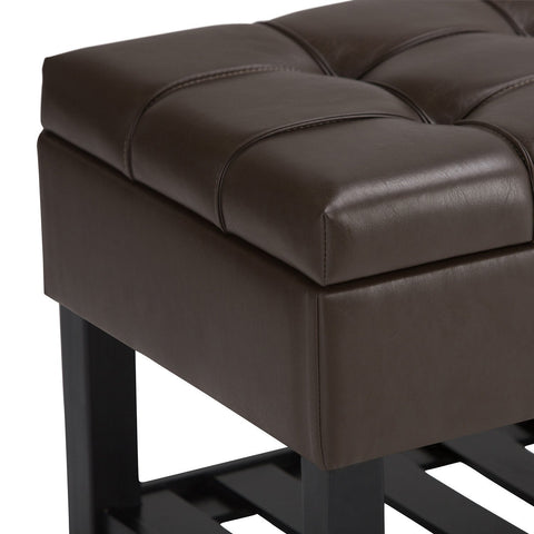 Chocolate Brown PU Faux Leather | Saxon Storage Ottoman Bench