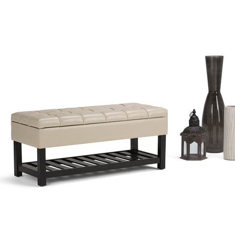 Satin Cream PU Faux Leather | Saxon Storage Ottoman Bench