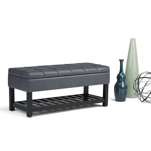 Stone Grey PU Faux Leather | Saxon Storage Ottoman Bench