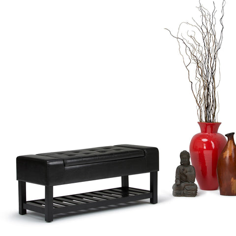 Midnight Black PU Faux Leather | Finley Storage Ottoman Bench