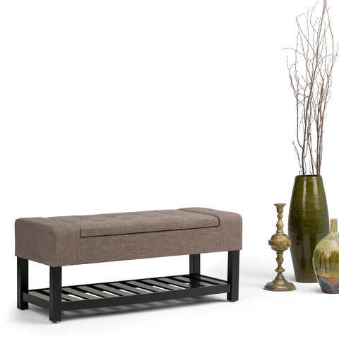 Fawn Brown Linen Look Polyester | Finley Storage Ottoman Bench