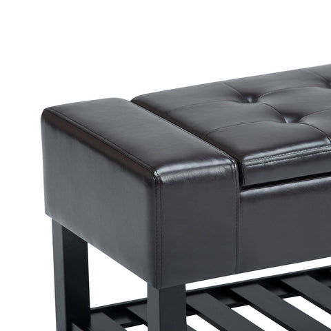 Tanners Brown PU Faux Leather | Finley Storage Ottoman Bench