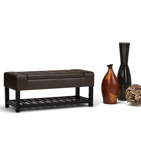 Chocolate Brown PU Faux Leather | Finley Storage Ottoman Bench