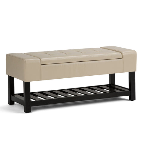 Satin Cream PU Faux Leather | Finley Storage Ottoman Bench