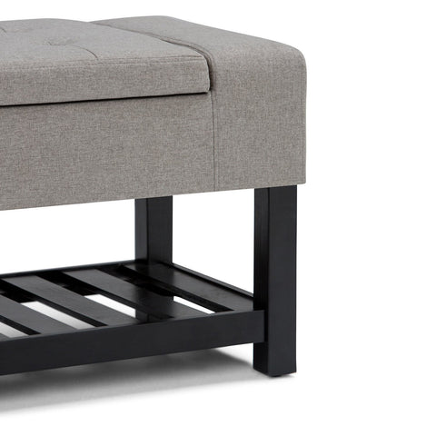 Dove Grey Linen Look Polyester | Finley Storage Ottoman Bench