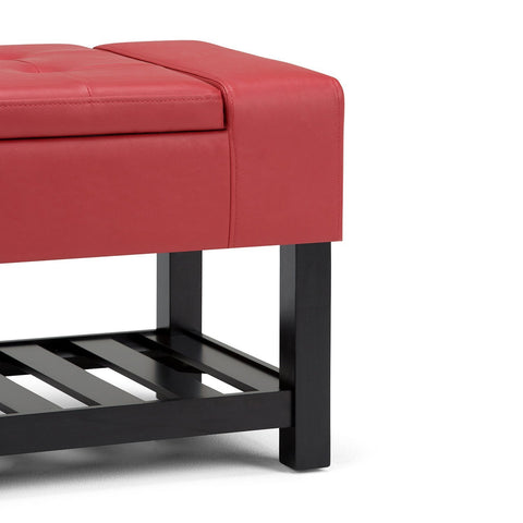 Crimson Red PU Faux Leather | Finley Storage Ottoman Bench
