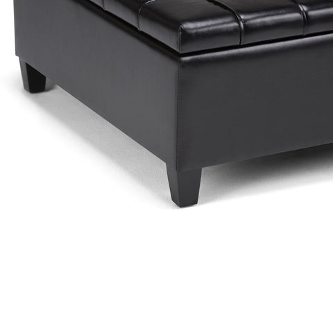 Midnight Black PU Faux Leather | Harrison Coffee Table Storage Ottoman